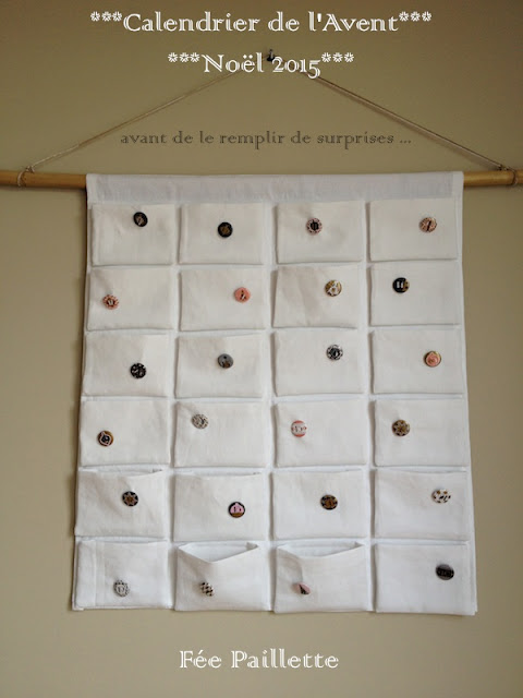 Les astuces de f e paillette calendrier de l 39 avent 24 - Tuto calendrier de l avent en tissu ...