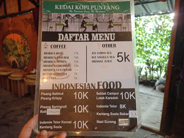 daftar menu kedai kopi gunung puntang