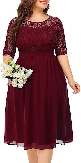 Short Plus Size Lace Bridesmaid Dresses