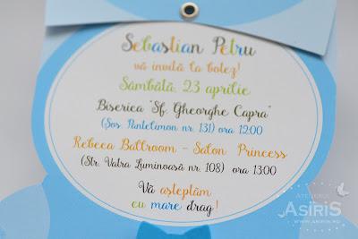 Text haios pentru botez, vesel colorat in bleu, portocaliu, vernil si negru