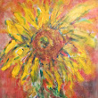 THE TALL SUNFLOWER BLOOMS....acrylic paint on canvas