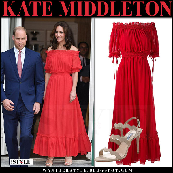 Kate Middleton in red off shoulder maxi dress alexander mcqueen with Prince William in Berlin during Royal Tour  july 19 2017 what she wore