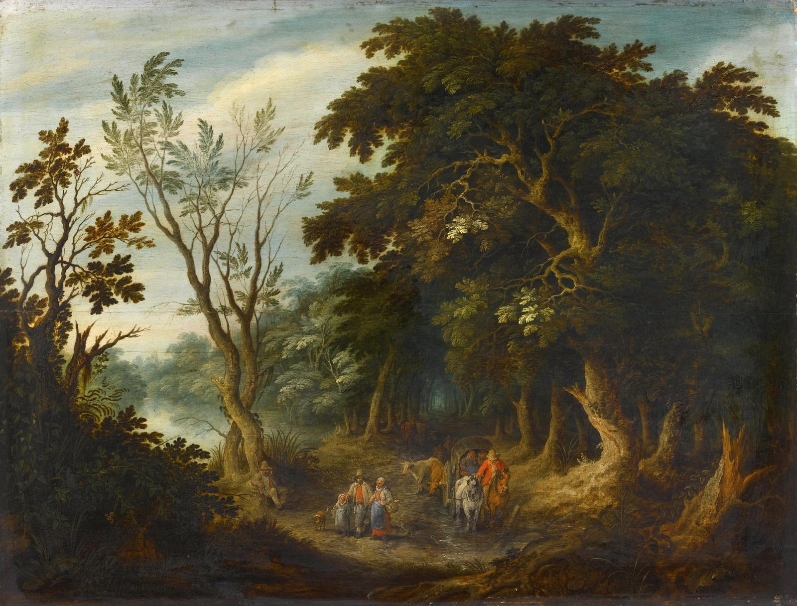 Обои картина, Лесной Пейзаж с Оленьей Охотой, Ян Брейгель старший. Разное foto 13