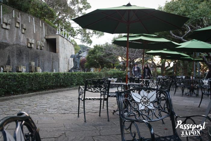 Terrasse et parasols, Glover Garden, Nagasaki, Kyushu