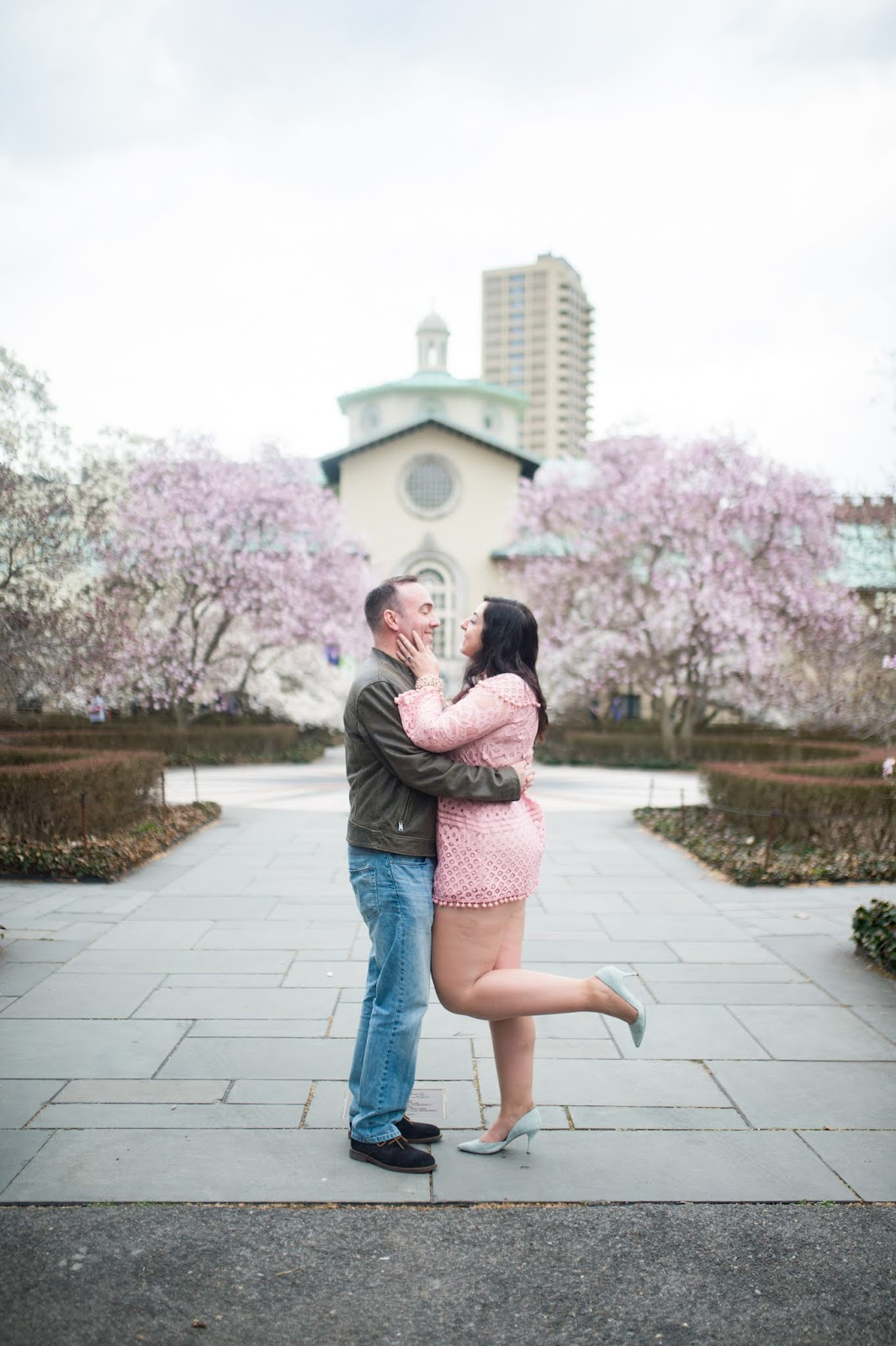Alexander Cripps and Thea Domber engagement session Brooklyn Botanical Gardens April 13 2018