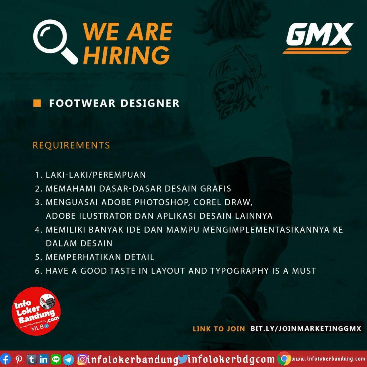 Lowongan Kerja Footwear Designer GMX Bandung Juli 2020