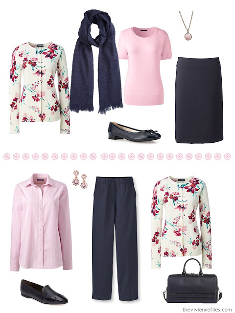 two outfits in navy and pink, with a floral cardigan