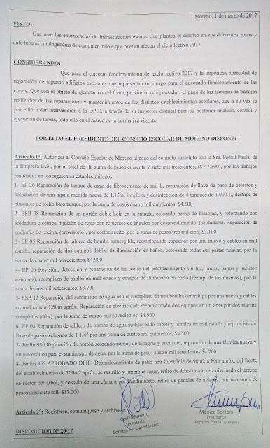 Disposición N° 20/17: Autorización de pago a la empresa IAN por trabajos realizados en EP 26, ESB 38, EP 5, ESB 12, EP 8, Jardin 930 y Jardin 955