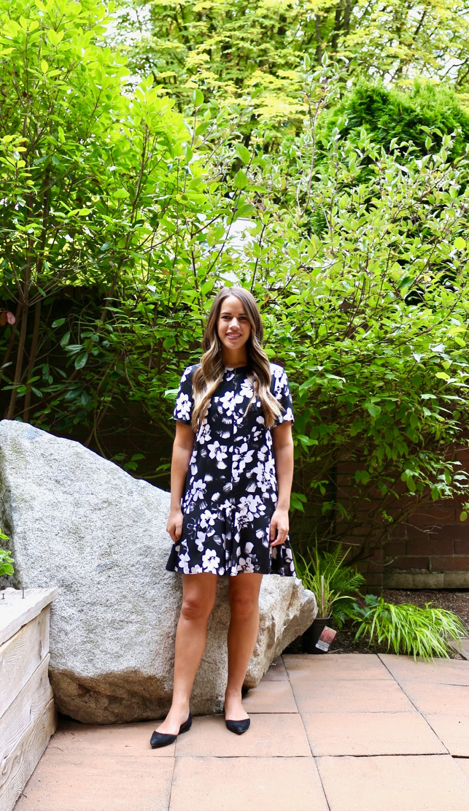 Jules in Flats -Ruffle Hem Drop Waist Floral Shift Dress (Business Casual Spring Workwear on a Budget)