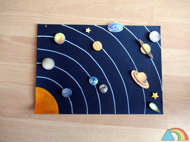 Sistema Solar hecho con cartulina negra y pegatinas de los planetas