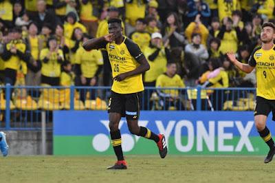 Kashiwa striker Micheal Olunga scores 7 goals against Kyoto. FT 13:1 PHOTO | BBC