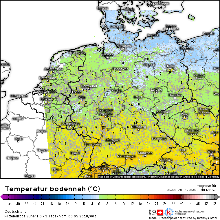 Temperaturen in Bodennähe am Samstagmorgen