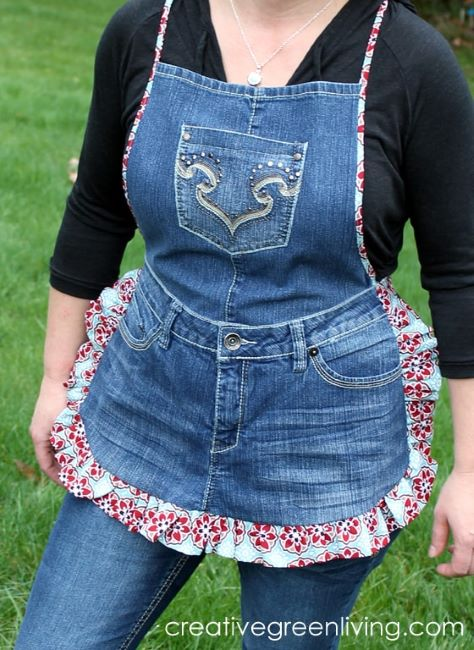how to make a farm girl apron out of recycled jeans tutorial
