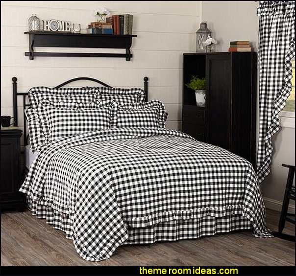 Black Caulder Reversible Quilt Buffalo Check Ruffled Quilt Coverlet farmhouse quilt