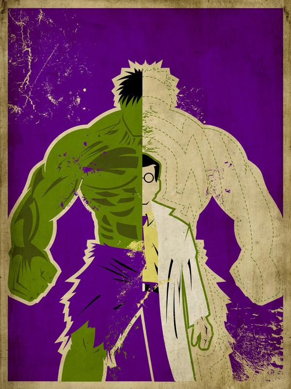 Marvel Room Decor Bruce Banner and The Hulk Alter Ego Poster by Danny Haas