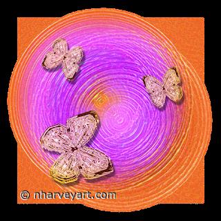 Butterfly Ripples (cutout) digital art orange pink rings
