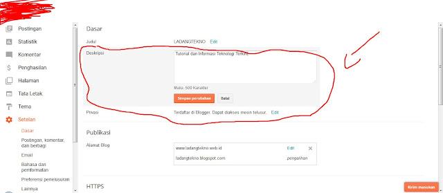 menambahkan meta tag di deskripsi