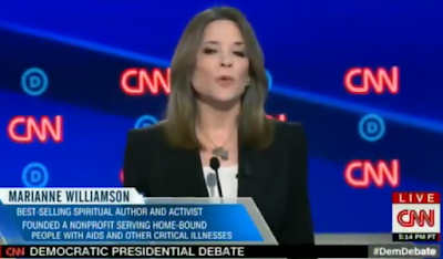 Sexy seductive Marianne Williamson CNN Democratic presidential debate black jacket