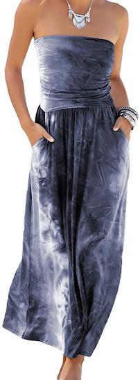 Best Tie Dye Strapless Maxi Dresses