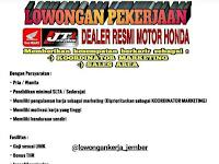 Lowongan Kerja Terbaru Dealer Honda Jaya Terang 1 Situbondo