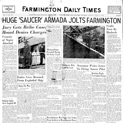 Huge 'Saucer' Armada Invades Farmington (Headline) - The Farmington Daily Times 3-18-1950