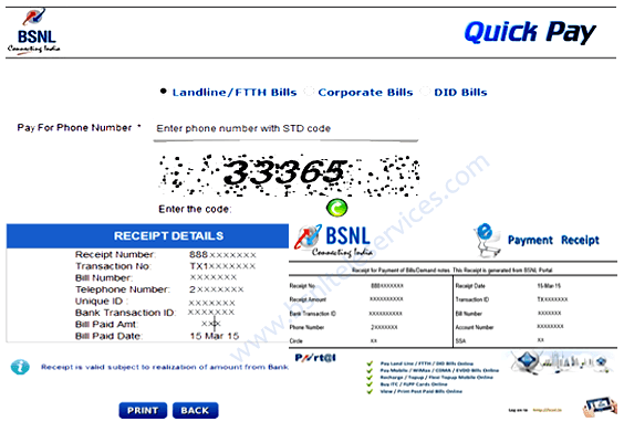 BSNL Landline Bill Payment Online Process at Quick Pay Portal