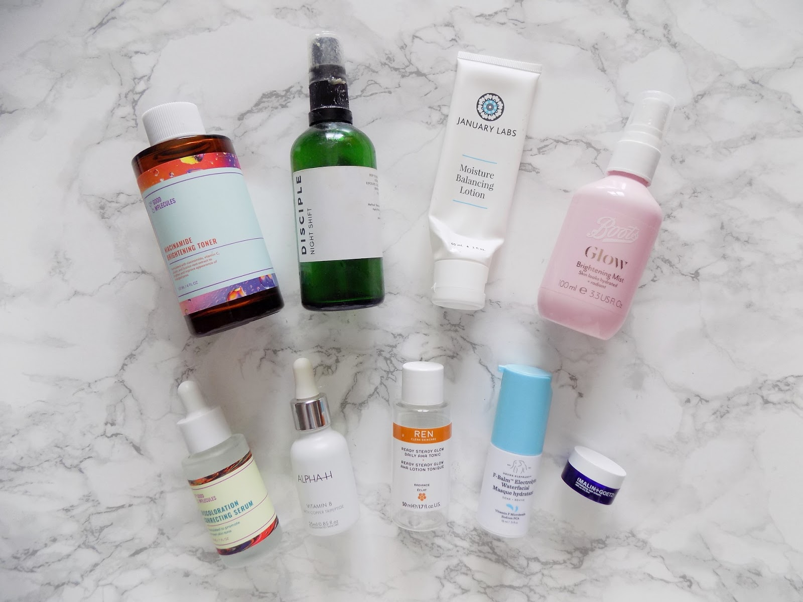 skincare empties good molecules January labs alpha h ren