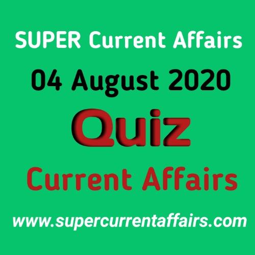 4 August 2020 Current Affairs Quiz in Hindi
