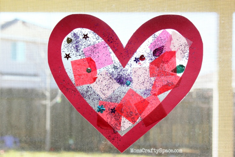 heart suncatcher Valentines Day crafts for toddlers