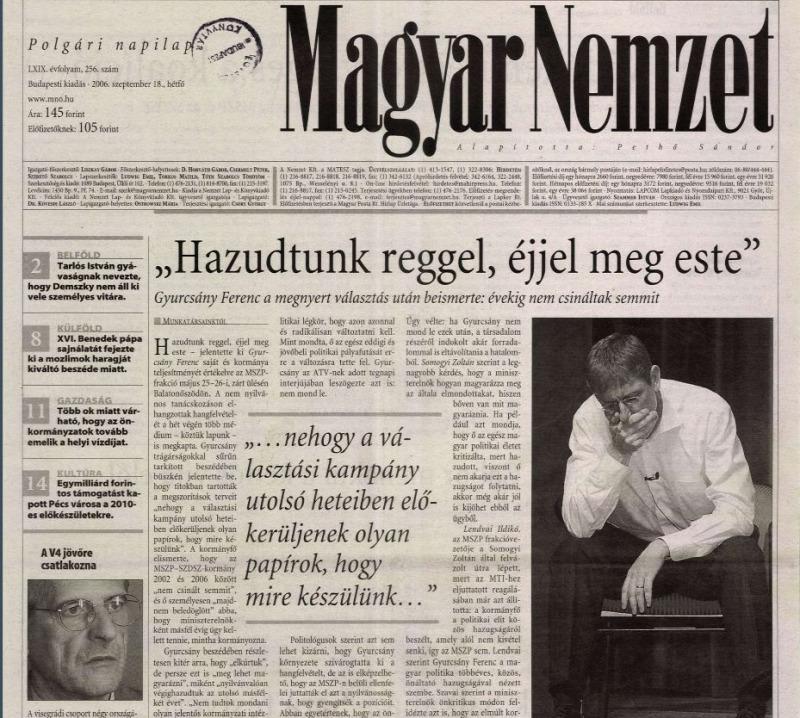 A Magyar Nemzet címlapja 2006. szeptember 18-ánFORRÁS: ARCANUM