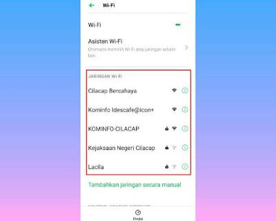 Berbagai macam jaringan wifi yang tersedia