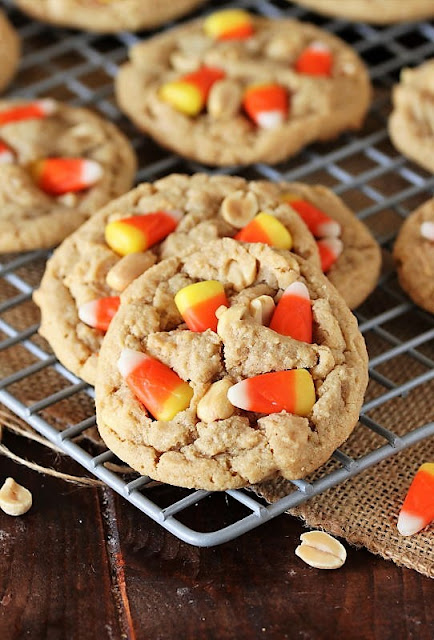 Peanut Butter Candy Corn Cookies on Cooling Rack Image