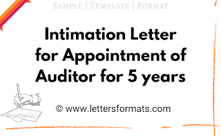 sample intimation letter for appointment of auditor