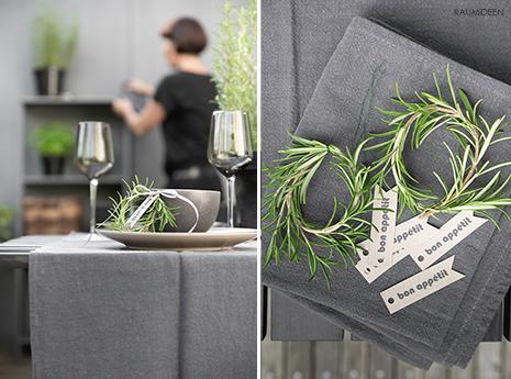Tischdekoration mit einem selbstgebundenen Rosmarinkranz (mit Druckvorlage)