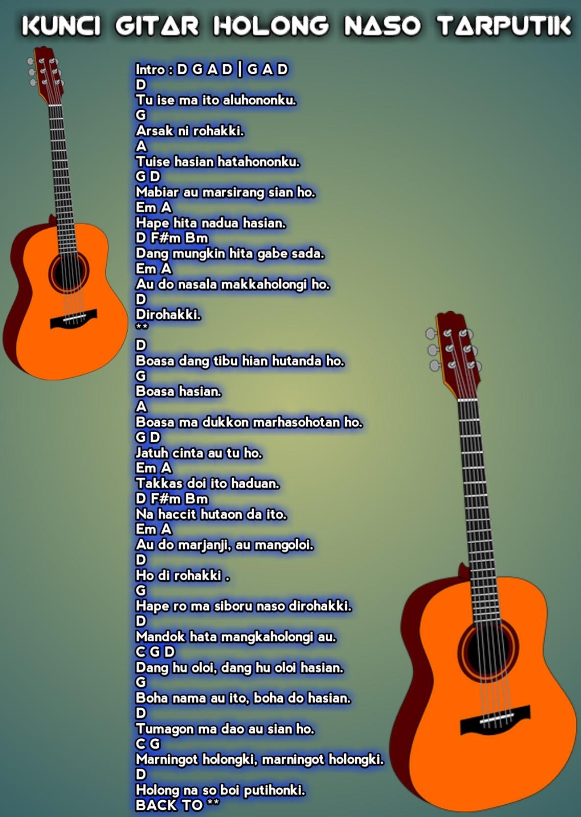 Holong Naso Tarputik : holong, tarputik, Lirik, Chord-Gitar, Batak, Holong, Tarputik