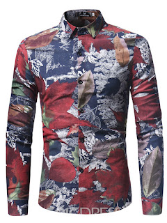 Ericdress Lapel Leaf Print Long Sleeve Men's Shirt