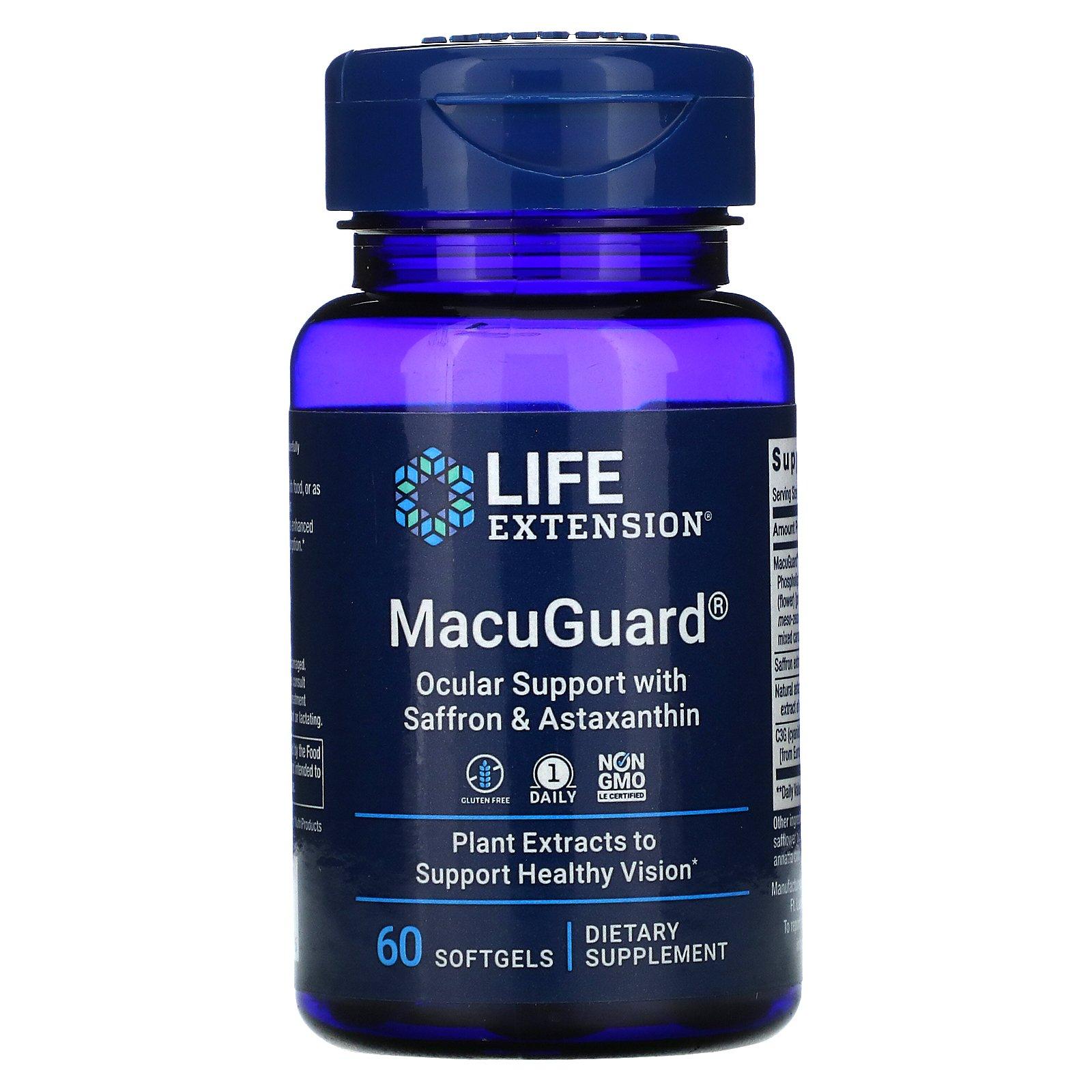 Life Extension, MacuGuard, поддержка зрения с шафраном и астаксантином, 60 капсул