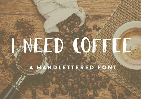 Brush font terbaik 2017 - I Need Coffee – Free Brush Font