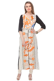 Rs. 934 Rayon White Mix Straight Fit Ankle Length W Kurta by FashionDiya