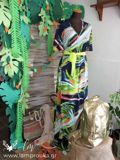 Διακόσμηση καλοκαιρινή βιτρίνας ή παιδικού πάρτι με τροπικά φύλλα.