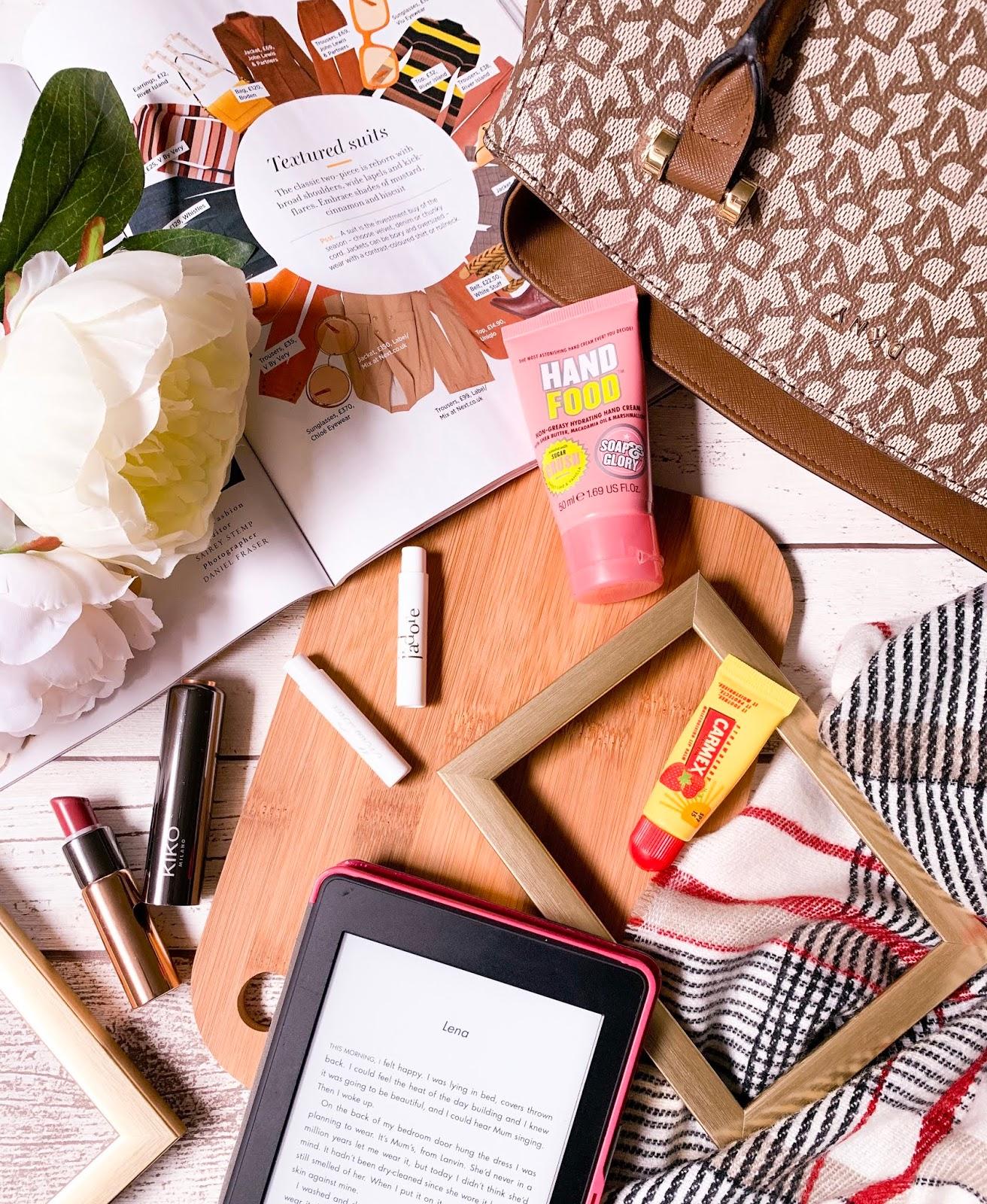 Autumn Handbag Essentials Flatlay