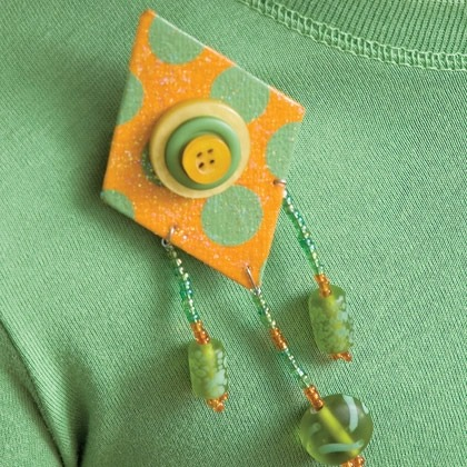 Paper and Bead Brooch