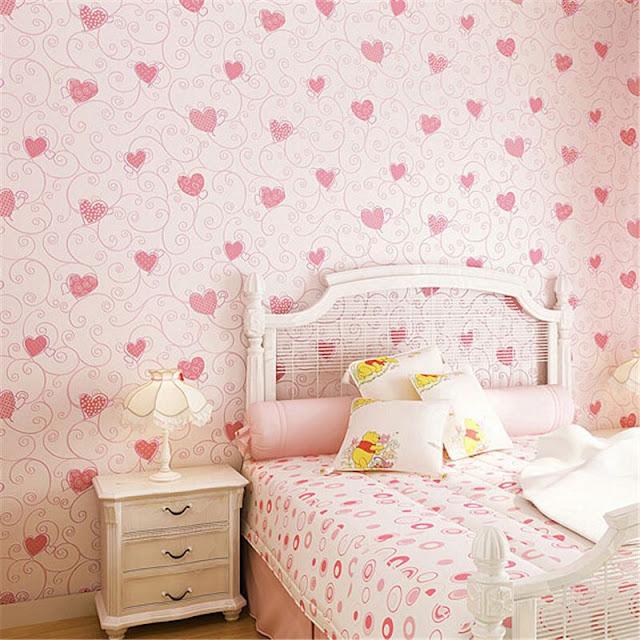 Wallpaper Dinding Kamar Tidur Romantis Warna Pink Terbaru