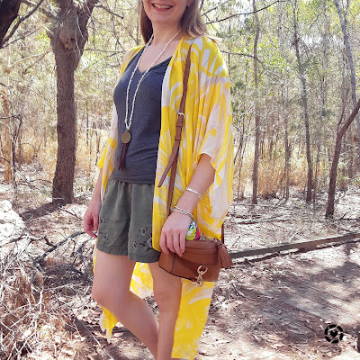 awayfromblue instagram | casual pearl necklace outfit grey tee olive shorts yellow kimono