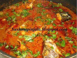 Mamidi Chepala Pulusu / Tangy fish curry with mango