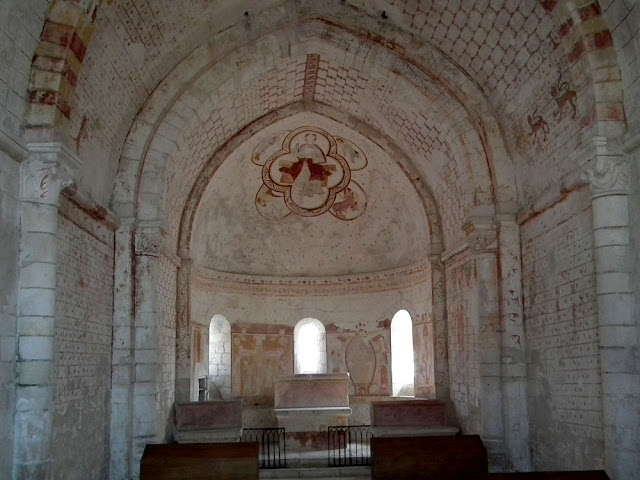 Apse of the Chapelle de Plaincourault, Indre, France. Photographed by Susan Walter. Tour the Loire Valley with a classic car and a private guide.