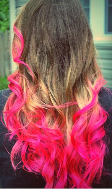 pink orang and blonde ombre hairstyle