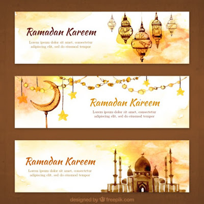 Watercolor ornamental ramandan banners - Free Vector- wandani vector