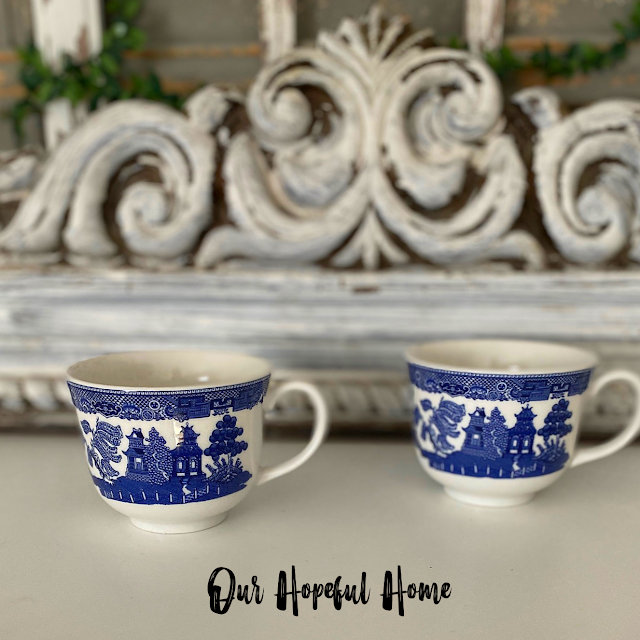 two Blue Willow tea cups