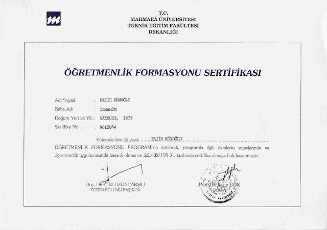 Protas Arge firma sahibi Fatih Köroğlu'na ait Marmara Üniversitesi Teknik Eğitim Fakültesi Öğretmenlik Formasyonu Sertifikası